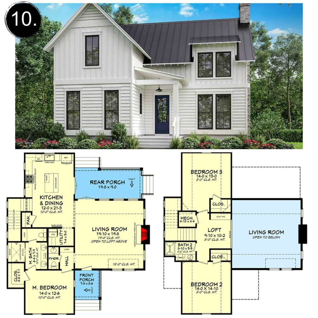 10 Floor Plans Under 2 000 Sq Ft Gorgeous Farmhouse Floorplans Under 2 000 Square Feet Loving All Of These Farmhouse Floor Plans Floor Plans Farmhouse Plans