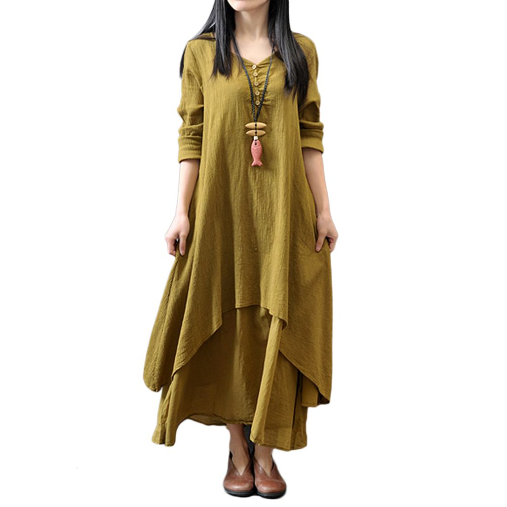 35b7eda47a0 Women Plus Size Maxi Dress Casual Irregular Boho Dresses Layered Vintage Loose  Long Sleeve Linen Dress
