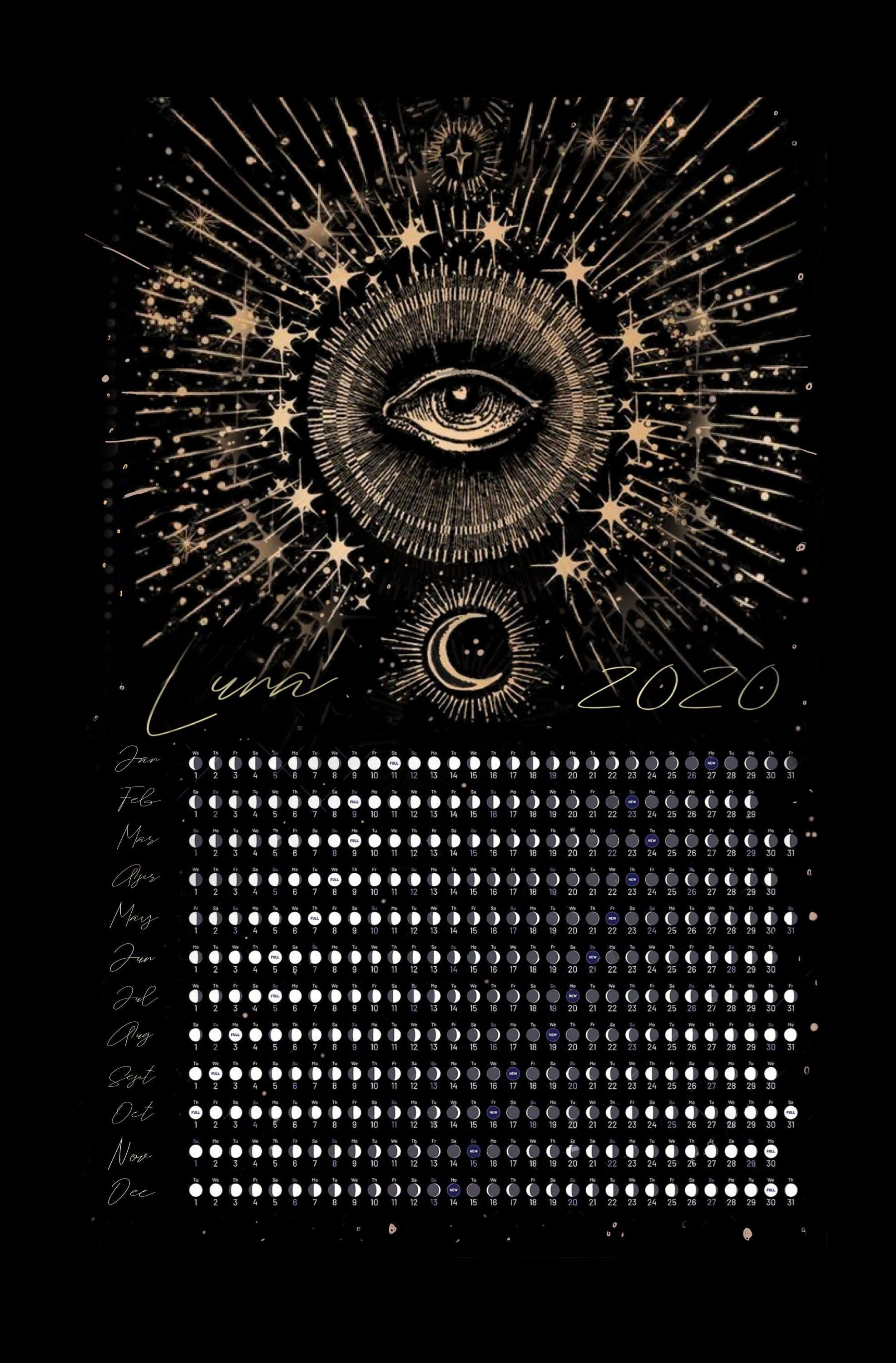2020 Moon Phase Calendar 11X17 Poster (With images