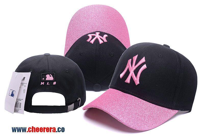 MLB New York Yankees Adjustable Snapback Hat in Black Pink ... 8e1f00bb426