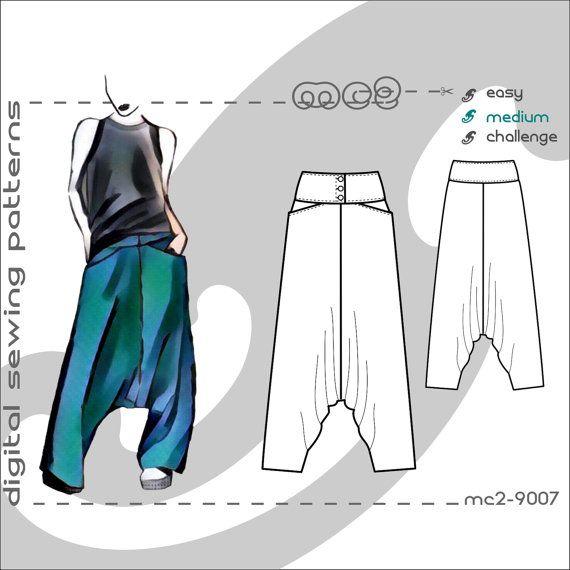 Harem Sarouel Afghan Pants/ Buttoned Yoke & Pockets (sizes: uk 6-20 ...