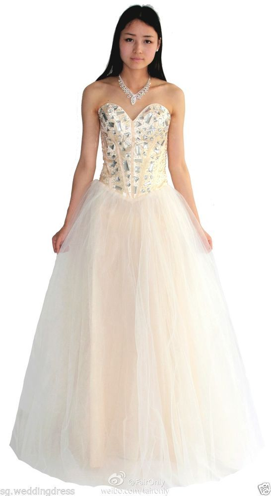 FairOnly Stock Deep V Crystal Evening Dress Prom Gown Stock Size 6 8 ...