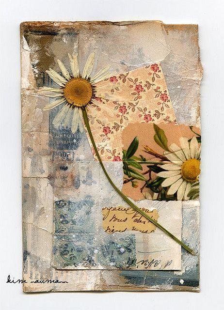 daisy collage basteln pinterest blumen trocknen collage und acrylmalerei. Black Bedroom Furniture Sets. Home Design Ideas