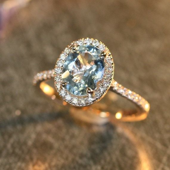 Halo Diamond And Aquamarine Engagement Ring In 14k Rose Gold 9x7mm Oval Aquamarine Pave Diamond Wedding Ring Other Metals Available Aquamarine Engagement Ring Pave Diamond Wedding Ring Engagement Rings