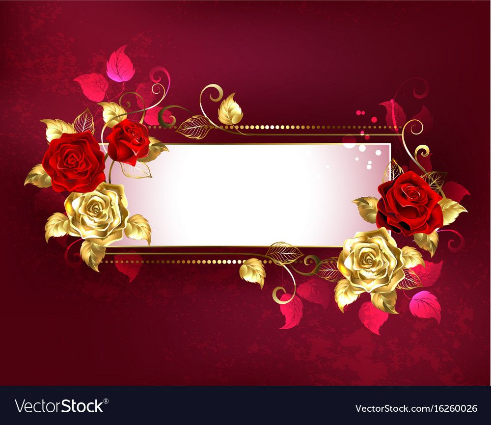 Rectangular banner with red roses vector image on VectorStock in 2020   Red roses, Design ...