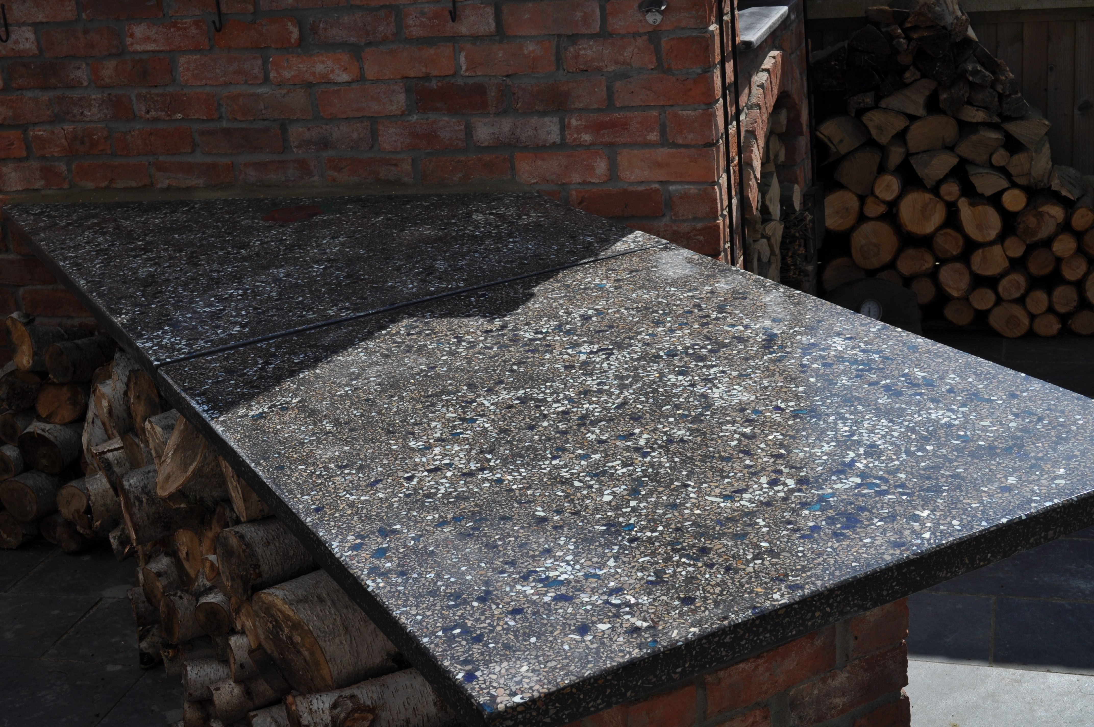 Concrete Countertop With Embedded Glass Rose Glow In The