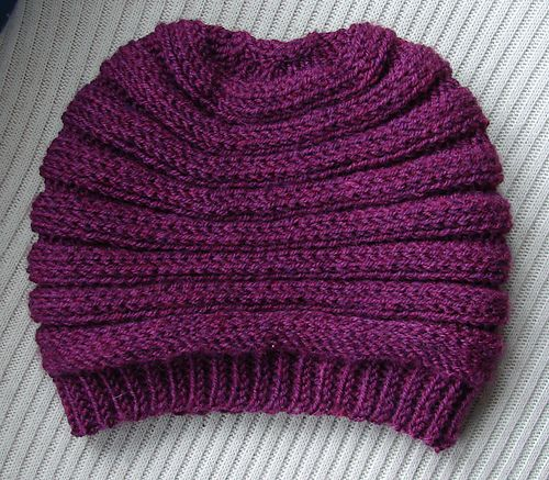 This is a free pattern crocheted hat with horizontal textured ribs ...