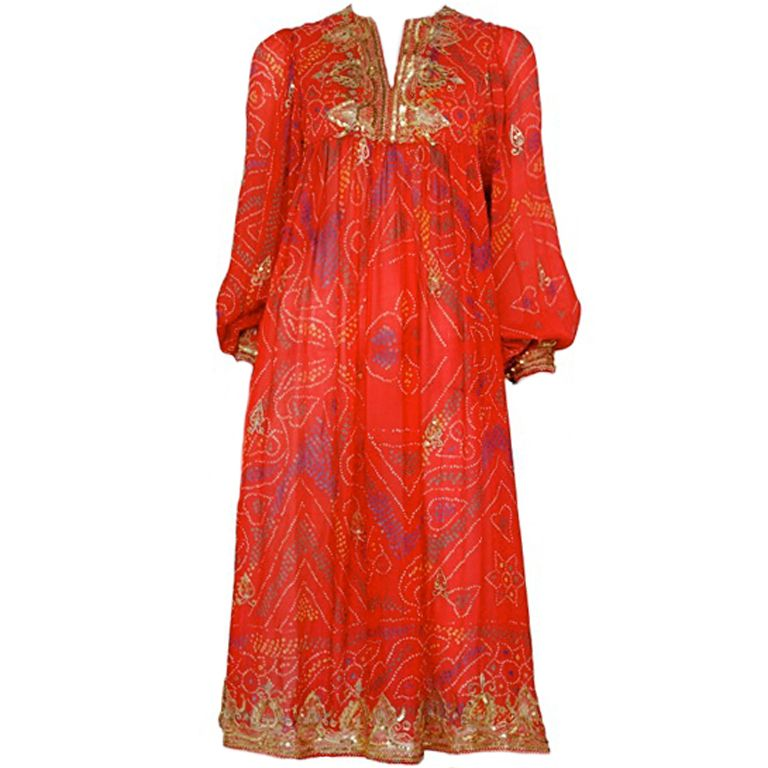 RED CHIFFON CAFTAN | From a collection of rare vintage day dresses at http://www.1stdibs.com/fashion/clothing/day-dresses/