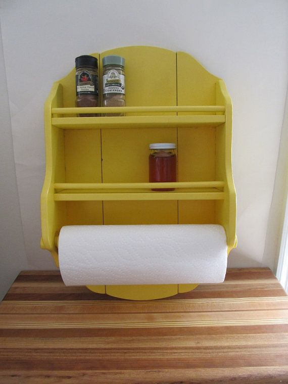 Upcycled Yellow Spice Rack / Wall Shelf / Paper Towel Holder ...