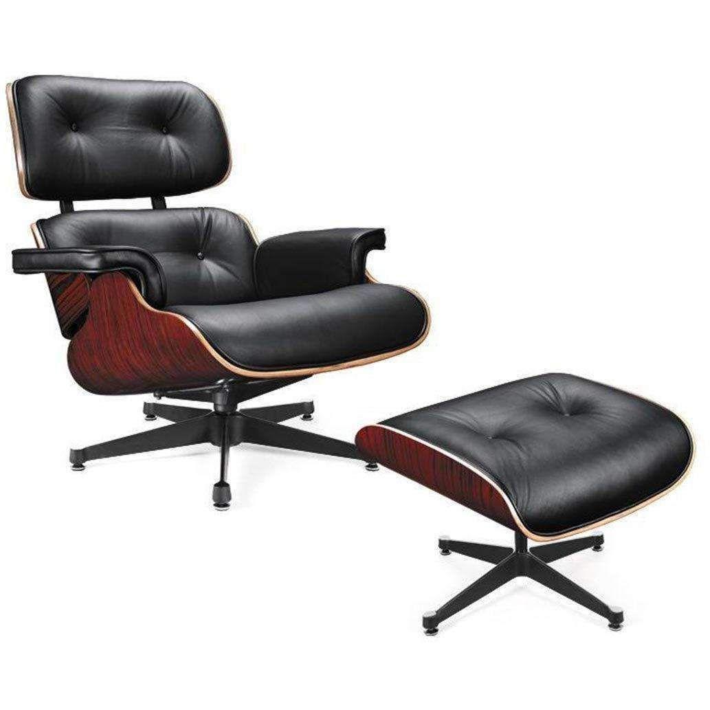 divani casa moser modern black leather lounge chair w ottoman