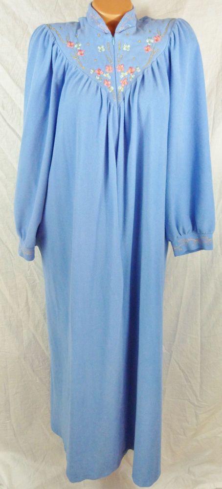 Womens Vanity Fair Blue Nightgown Embroidery Yoke Floral Zipper Front  Flowers  VanityFair  Robes d39eaf063