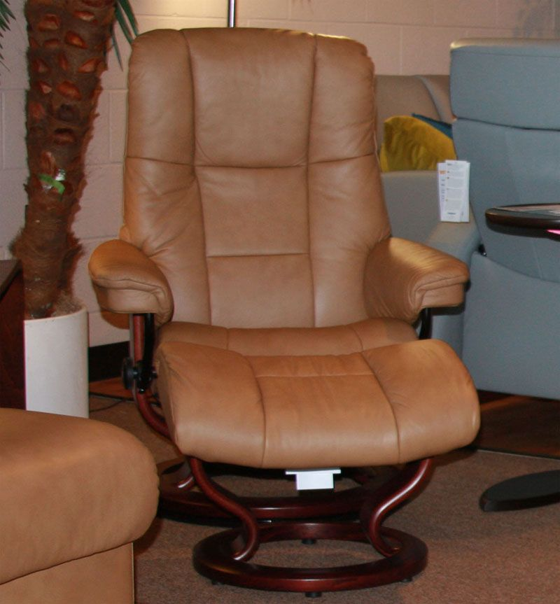 Stressless Mayfair Paloma Taupe Leather Recliner Chair And Ottoman By  Ekornes