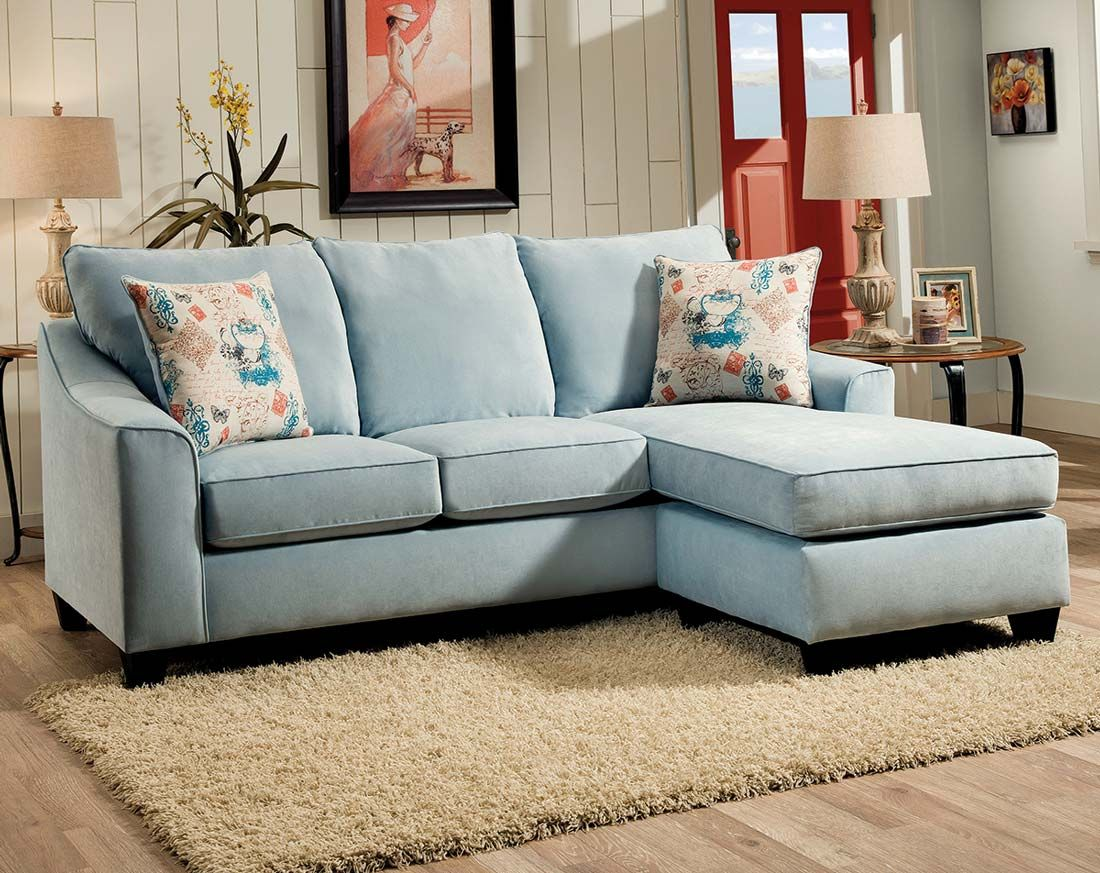 Teal Chenille WrapAround Couch Elizabeth Two Piece Sectional Sofa