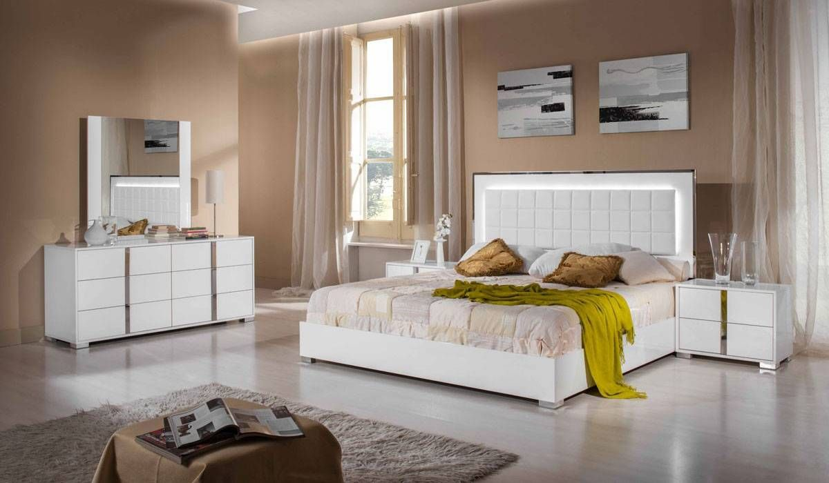 italian bedrooms furniture. Astrid Italian Bedroom Set With Built In Lights. The Lovely Bed Is Part Of Bedrooms Furniture