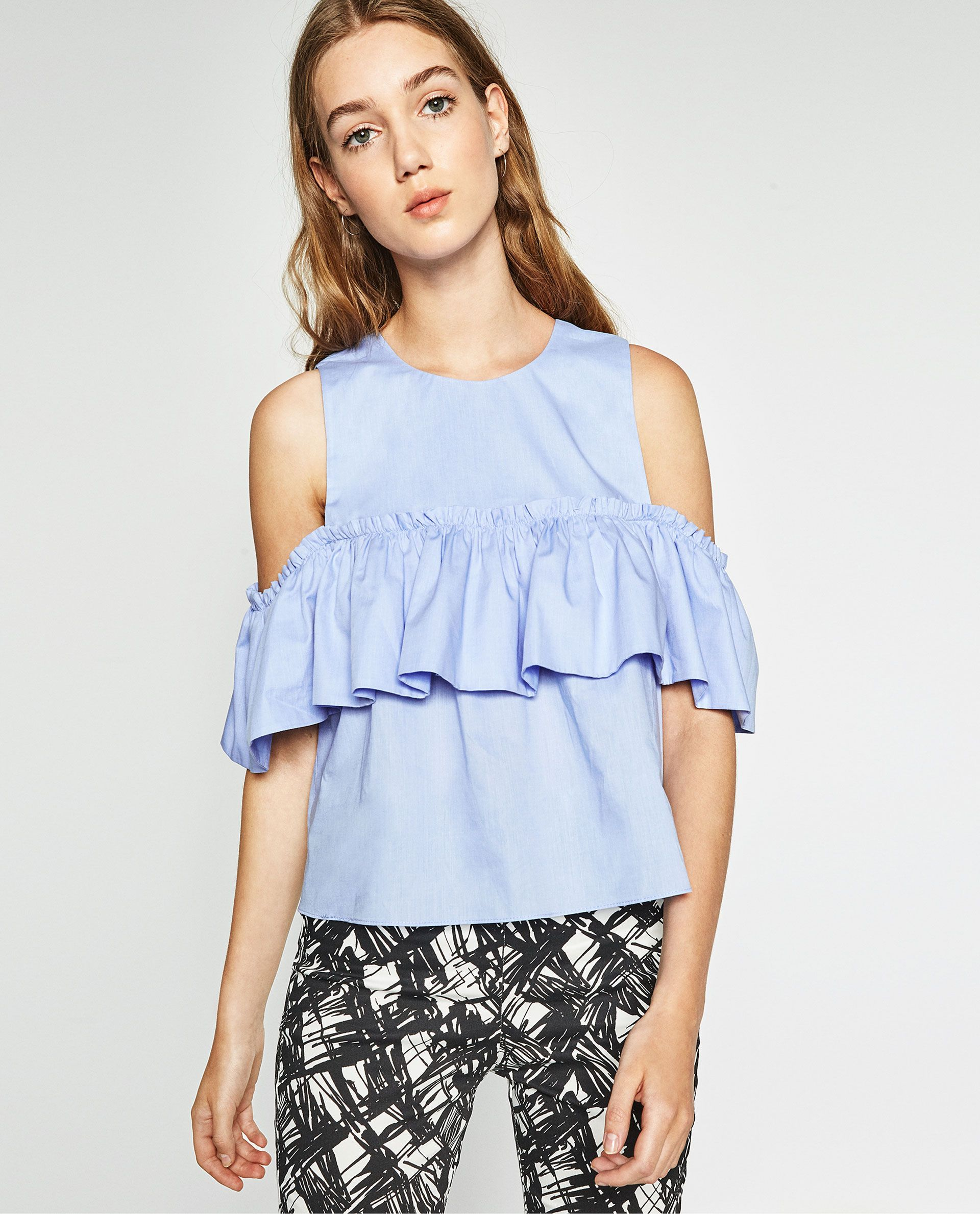 Summer Clothes 2016 | 40 pieces to add to your ZARA cart rn | Cold Shoulder  Top with ruffle detail, $29.90