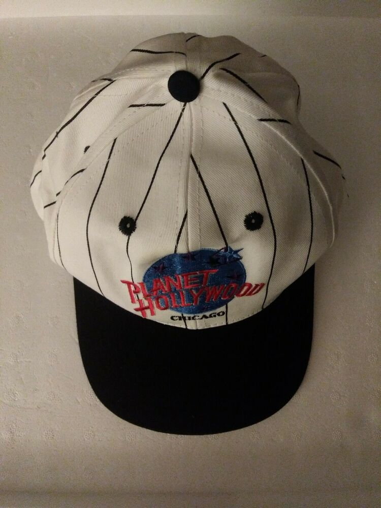 52b5124e9 Vtg 90s Planet Hollywood Chicago Snapback Cap White Black Pinstripe ...