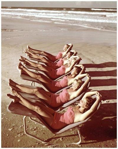 Pretty in pink sunbathers