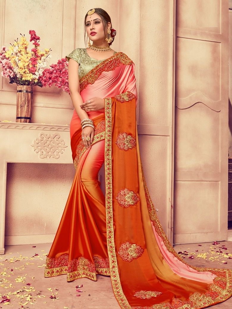 8088ff61338785 Rangoli Silk Saree in Orange And Light Pink Color. Enhanced with Fency  Thread, Hand