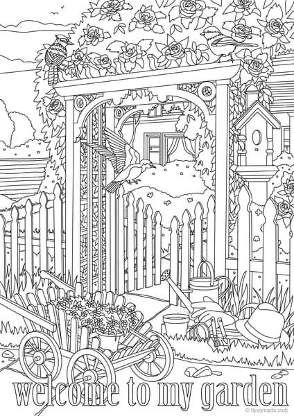 Country Spring Welcome To My Garden Printable Adult Coloring