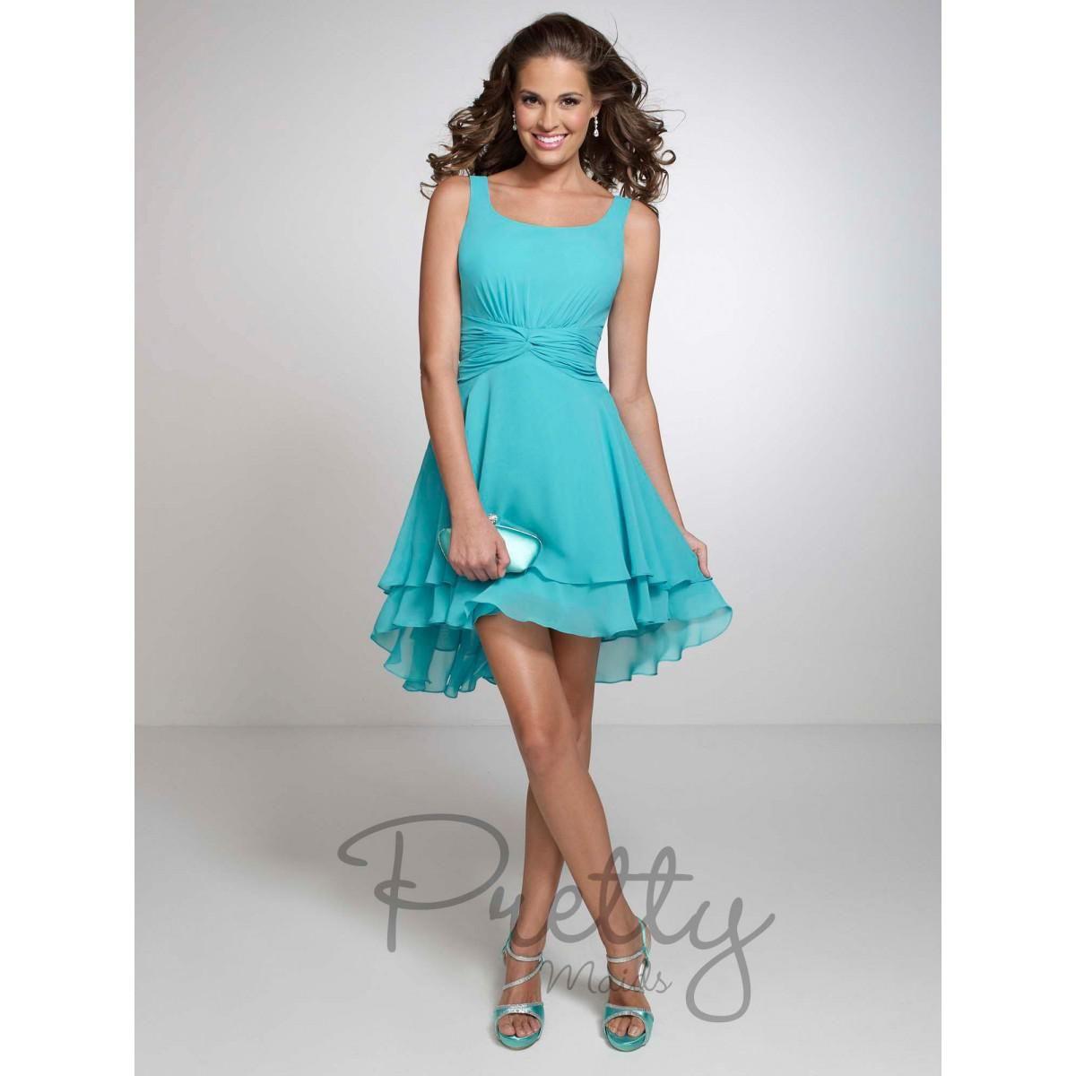 Turquoise Scoop Neck Chiffon Short Bridesmaid Dresses Mini Ruffles A ...