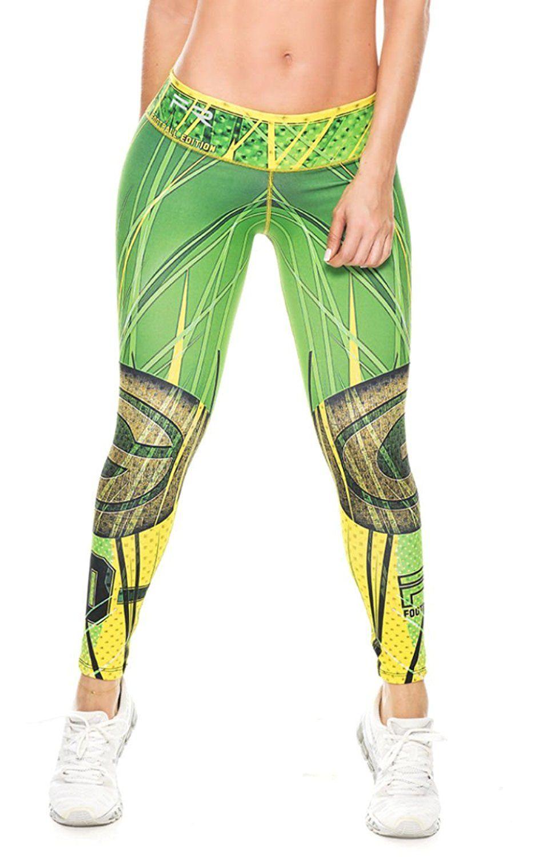 d7ca35c1bdcf0 Green Bay Packers Football Leggings NFL Yoga Pants Women's Compression  Tights