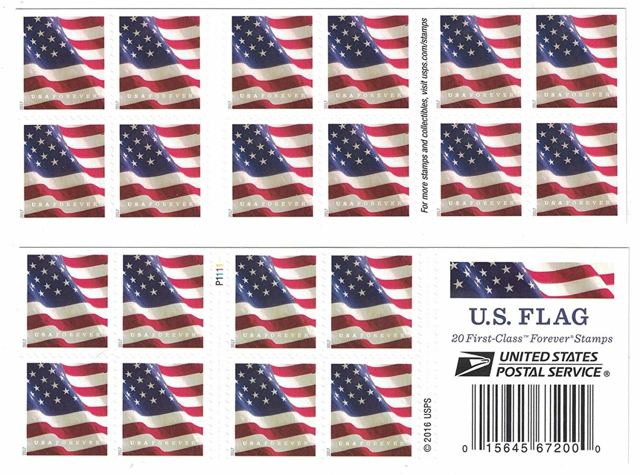 Usps Us Flag Forever Stamps Book Of 20 10 00 Stamp
