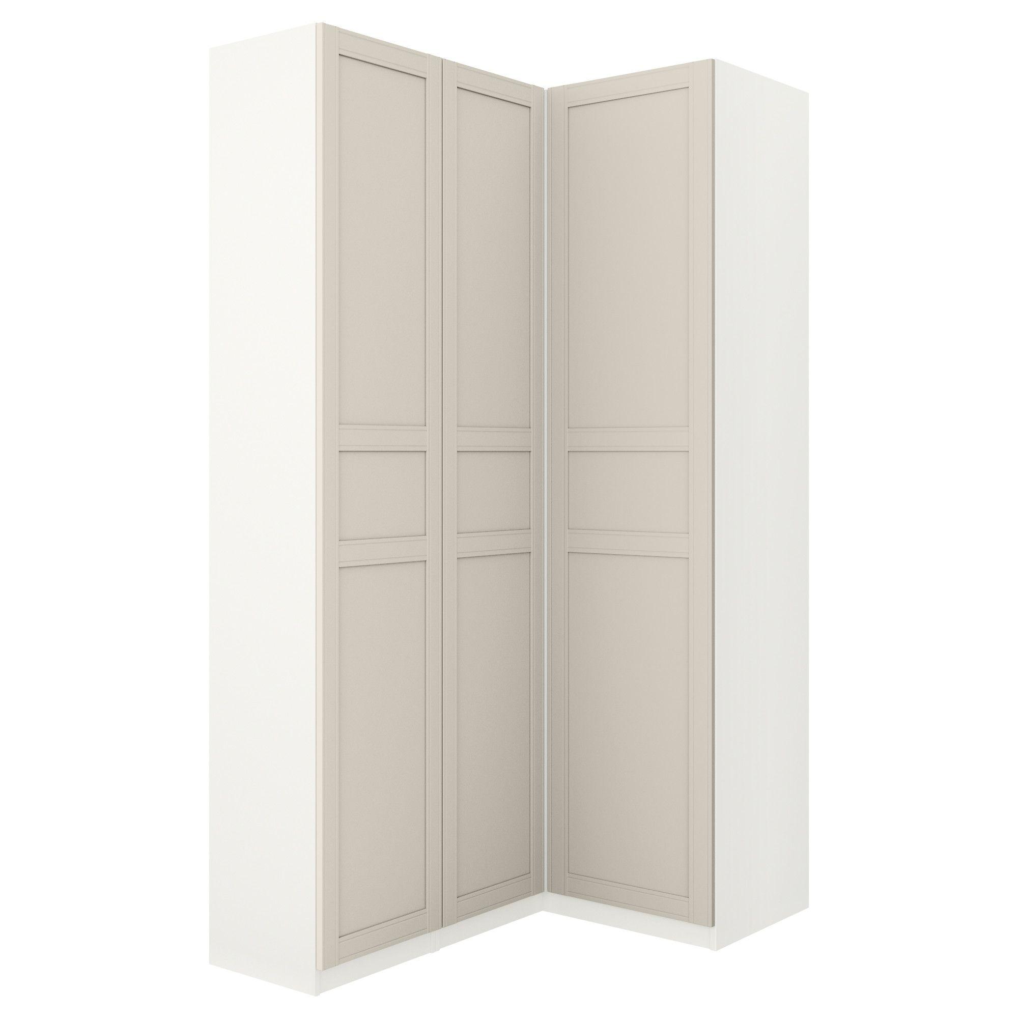 PAX Corner wardrobe, white, Flisberget light beige | Corner wardrobe ...