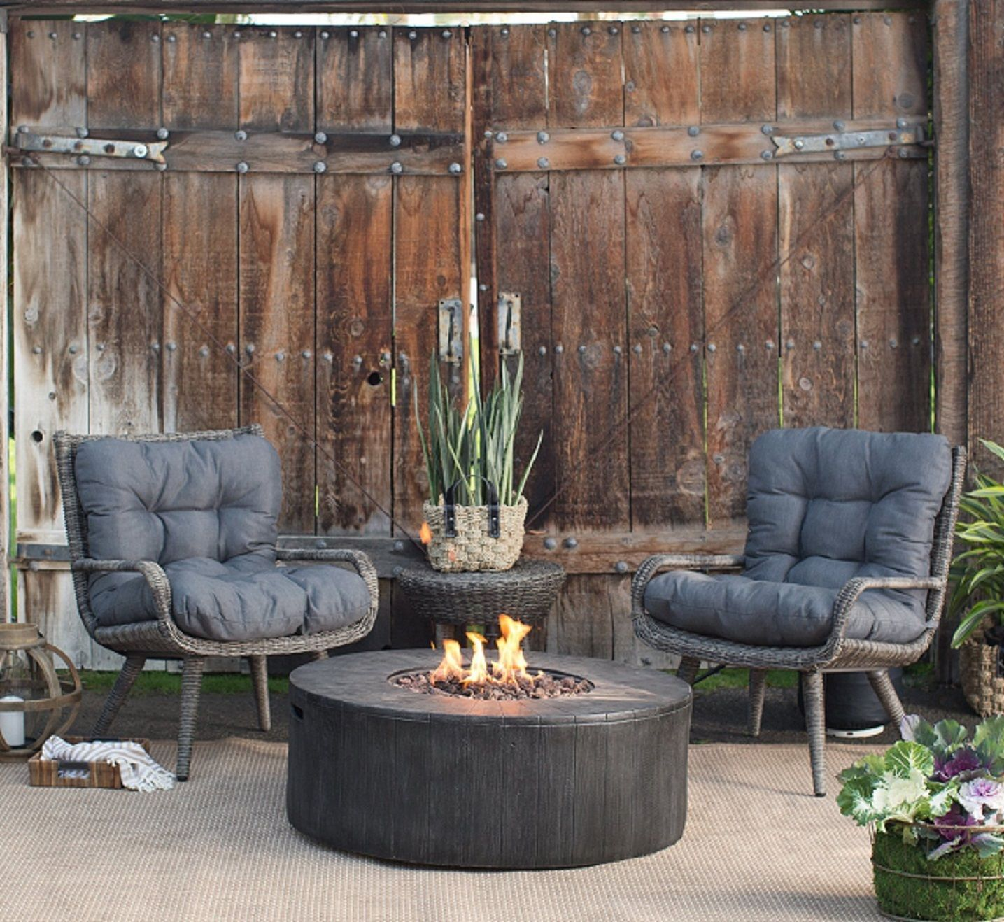 Outdoor Patio Furniture 4pc Fall Chat Set Chairs Table Propane Firepit Gas Heat Gas Firepit Propane Fire Pit Fire Pit Chat Set