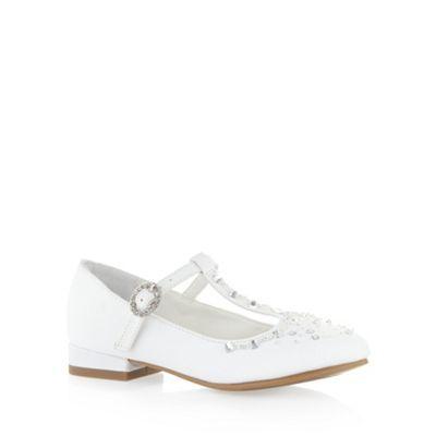 Girl's white diamante T-bar strap shoes