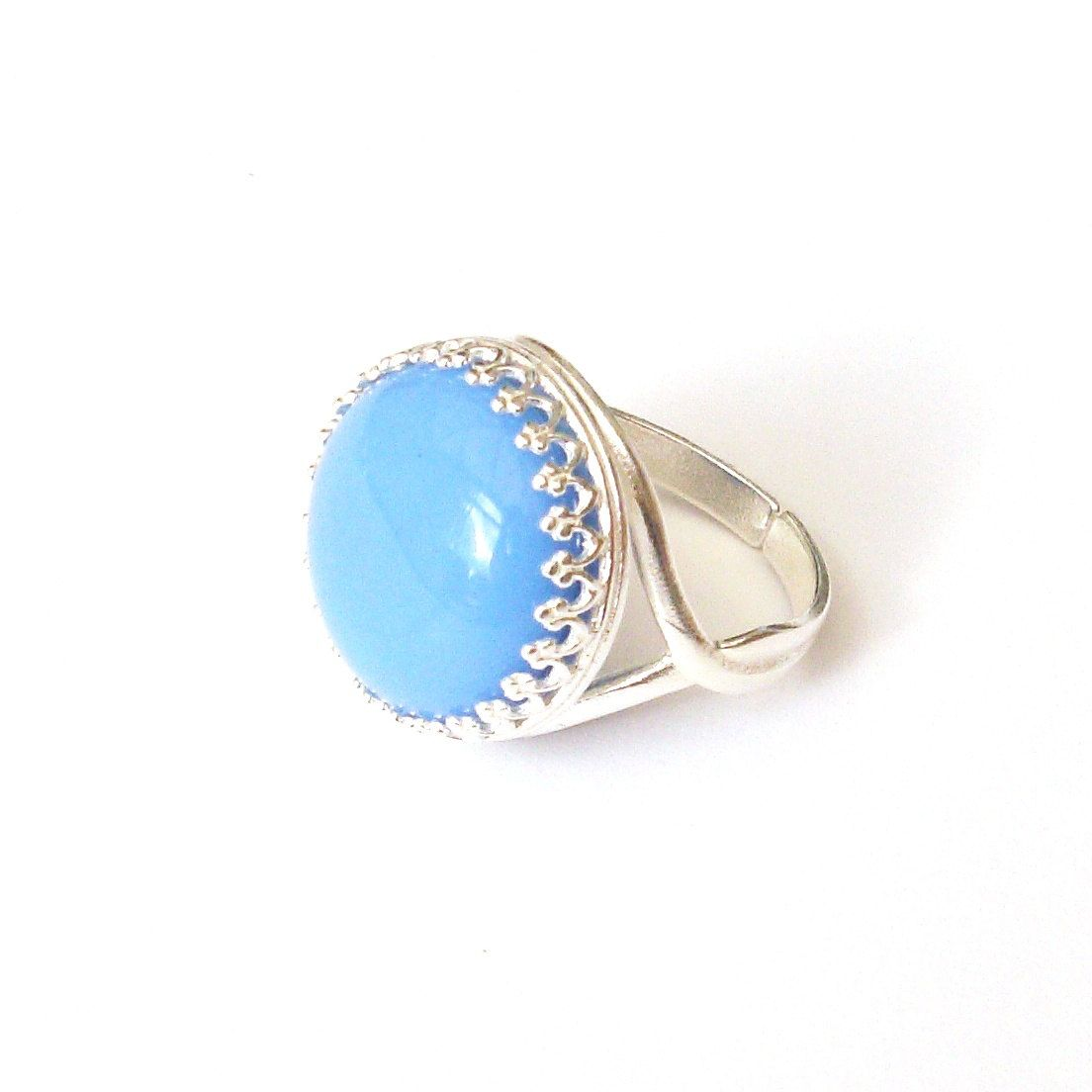Light Cornflower Blue Glass Ring in Sterling Silver by TemporalFlux on Etsy