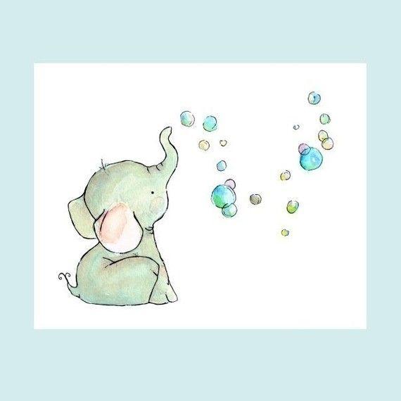 Elephant Bubbles 8x10  Art Print by trafalgarssquare on Etsy, $20.00