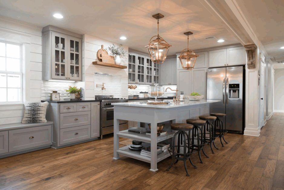 Best Kitchen Grey Cupboards Light Brown Wooden Shelf Simple 400 x 300