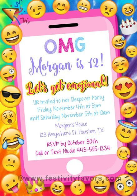 Emoji Party Birthday Invitations 100 Each Festivityfavors