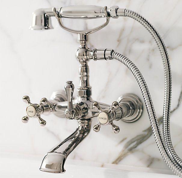 Restoration Hardware Tub And Handheld Shower Set On A Claw Foot Tub Hand Held Shower Shower Plumbing Shower Set