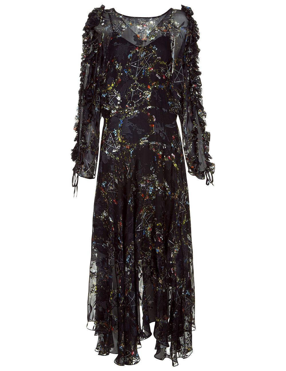 Ermin ruffletrimmed devoré silkblend chiffon midi dress black