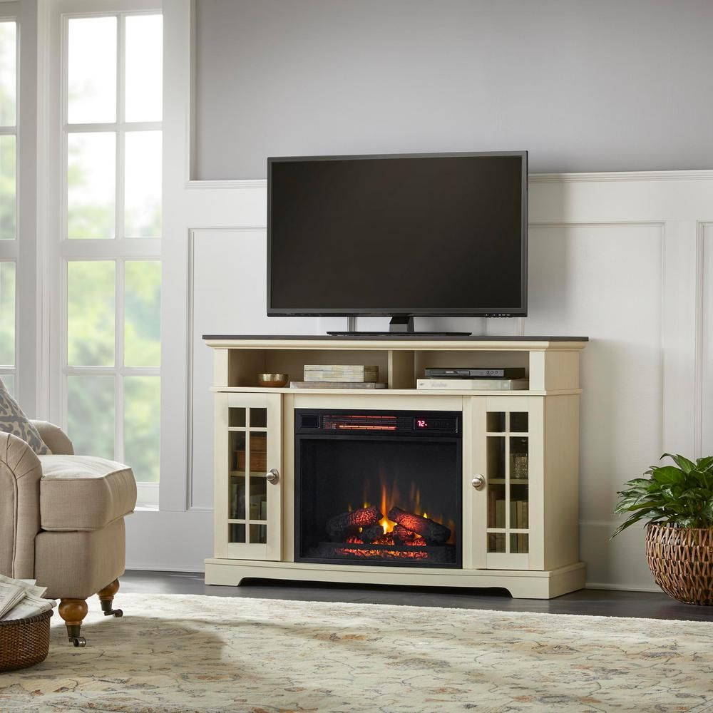 Home Decorators Collection Canteridge 47 In Freestanding Media Mantel Electric Tv Stand Fireplace In Old World White With Brown Top 117970 The Home Depot Fireplace Tv Stand Tv Console With Fireplace