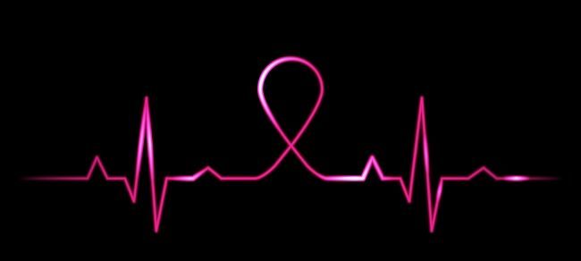 Cardiogram With Breast Cancer Symbol