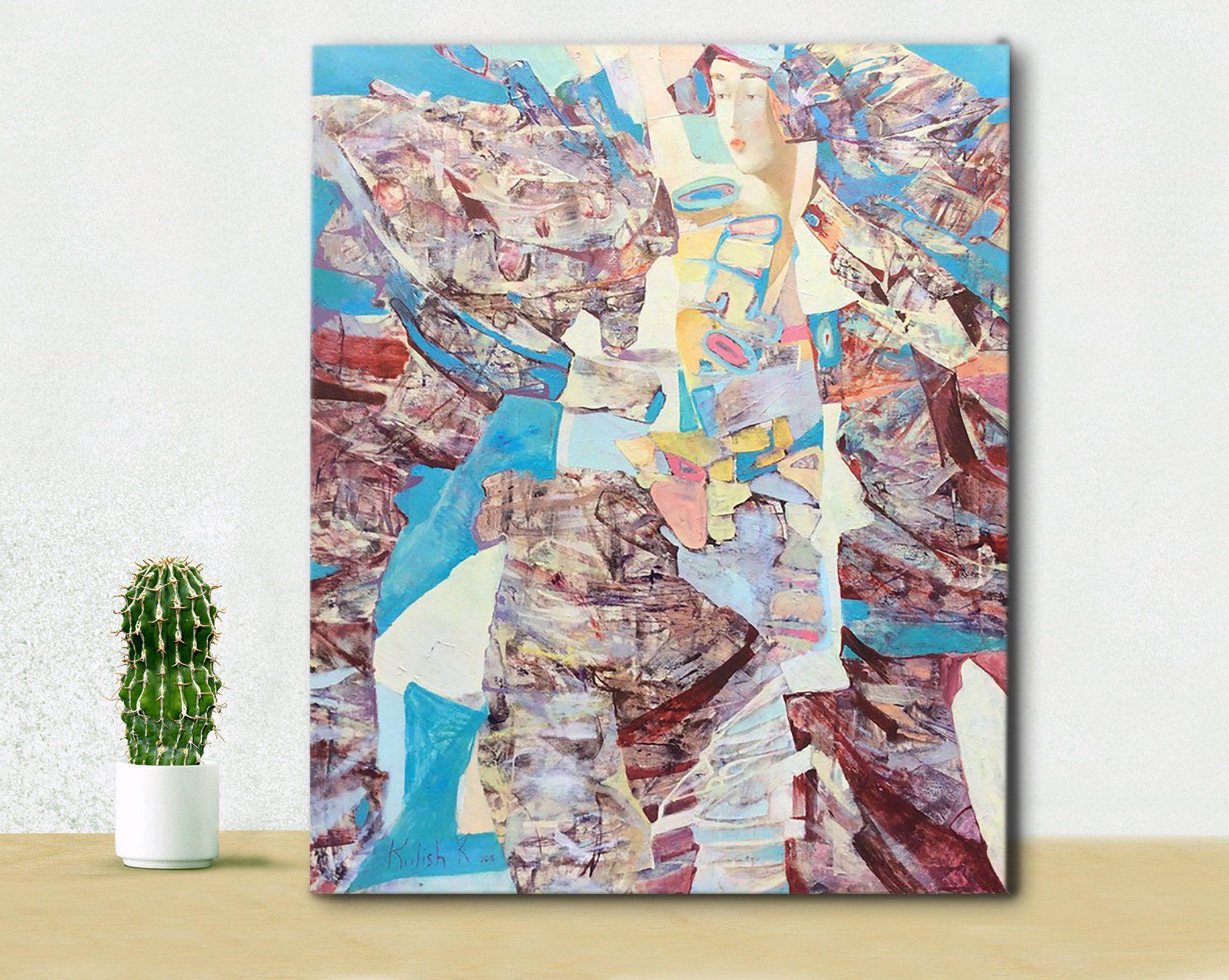 Oil woman painting canvas wall art modern decor blue abstract art