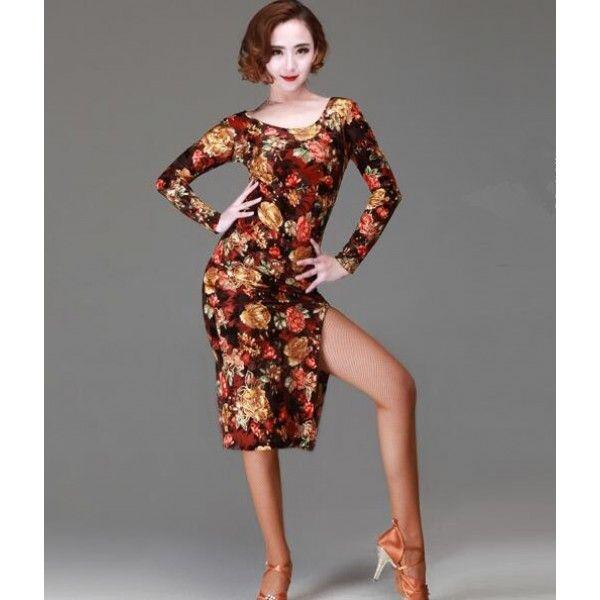 323d2e44c Women's girls velvet material gold floral flower luxury amazing long  sleeves round neck latin dance dresses samba salsa rumba dance dress