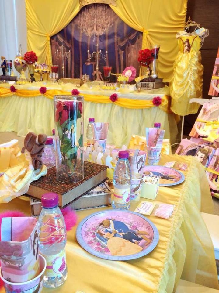 Fiesta tem tica bella y bestia beast fiestas and ideas - Decorar mesas para fiestas ...