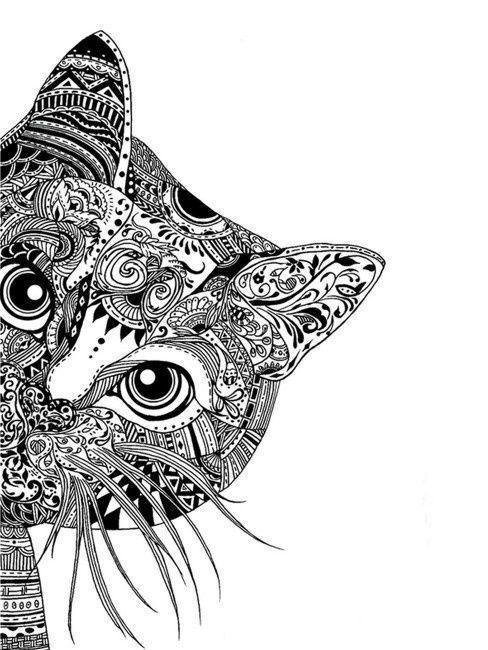 Gato para pintar | Mandalas | Pinterest | Arte, Dibujos y Mandalas