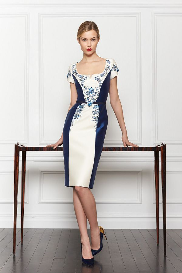 Blue and white patterned modest dress.   Such a beautifully stylish collection from Carolina Herrera for Pre-Fall 2013...