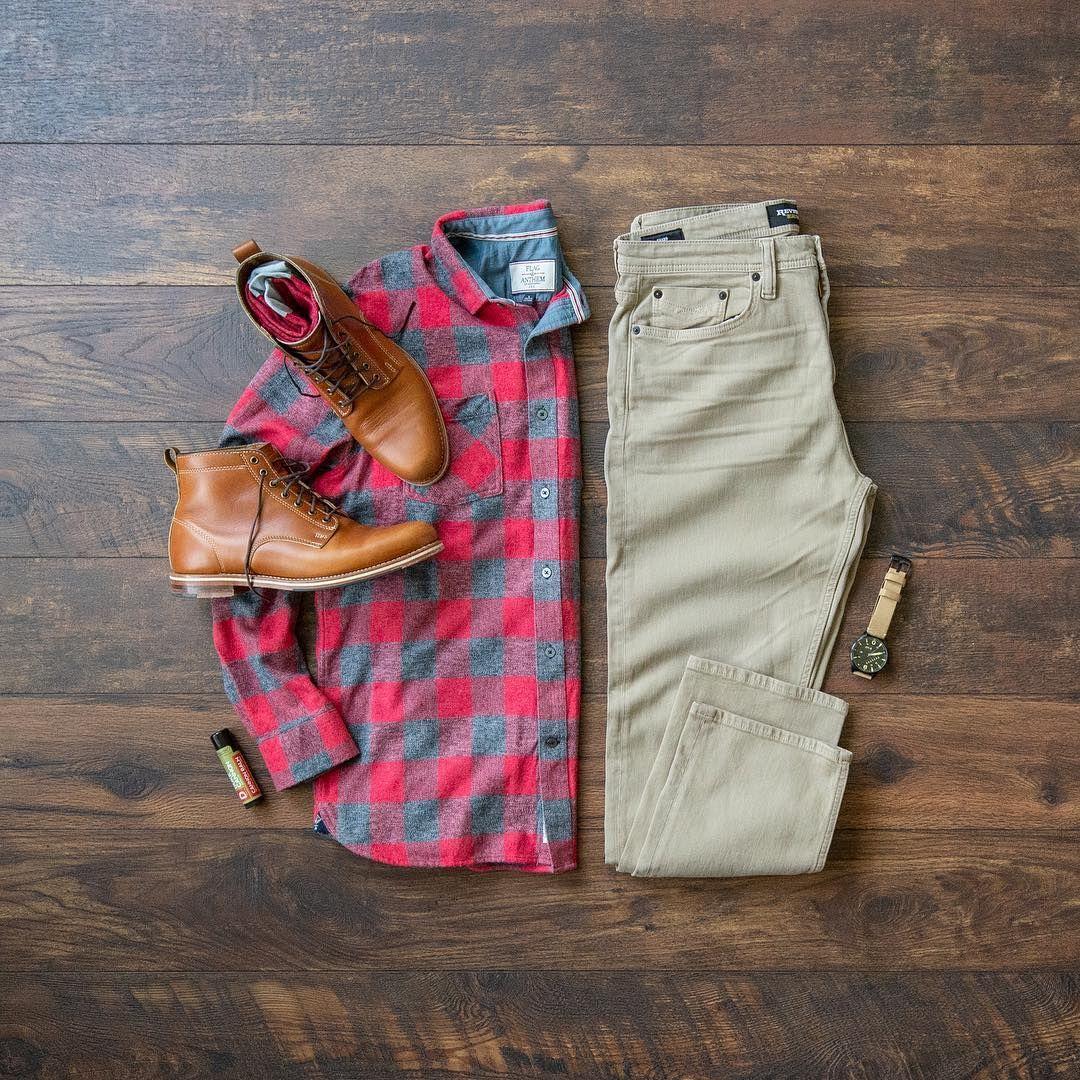 Flannel shirt with khaki pants  Tuesday    MyCreativeLook  Pinterest  Fall fashion boots