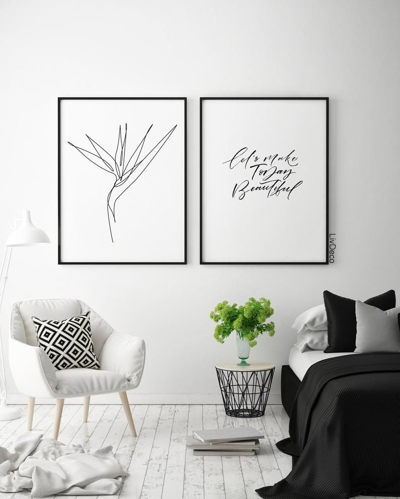 Bird of paradise plant wall print , Minimalist art, One line drawing, Abstract Tropical flower decor, Black and white modern art, botanic