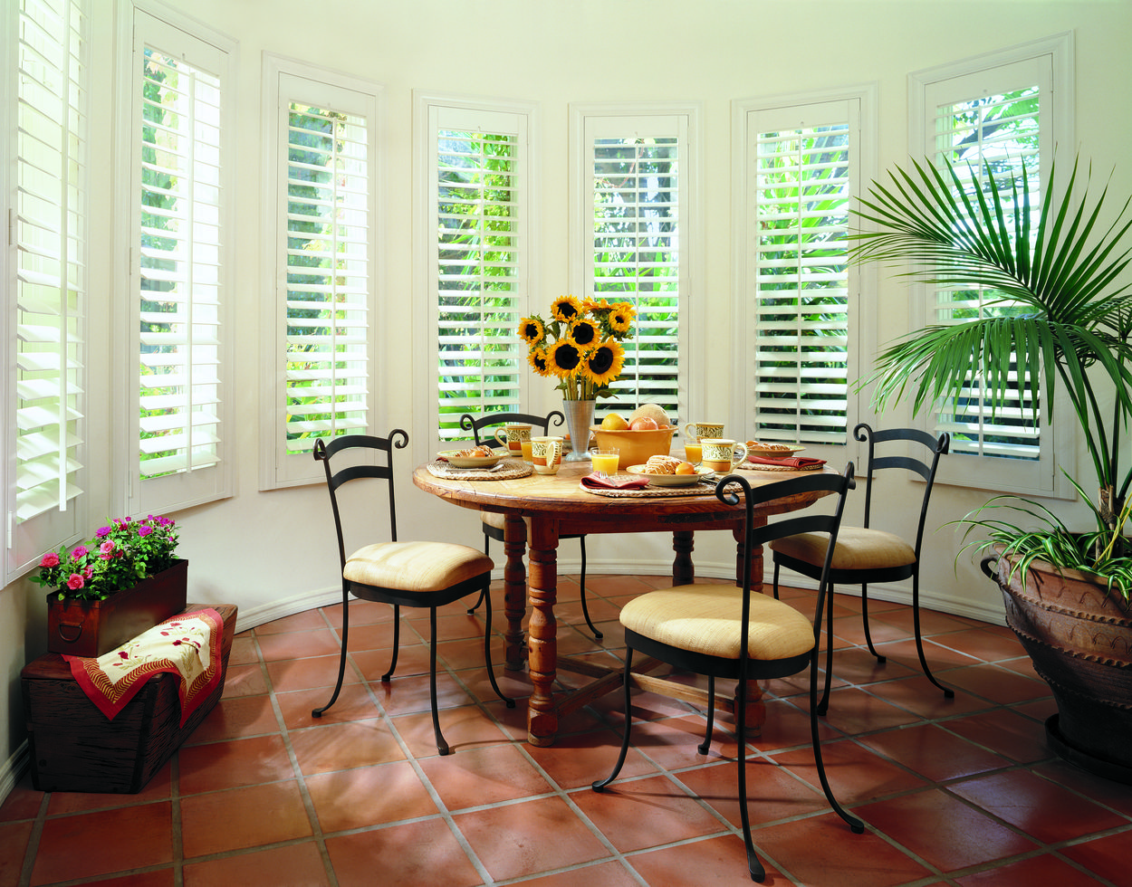 Hunter Douglas Plantation Shutters Interior Shutters Dining Extraordinary Dining Room Window Treatments Decorating Design