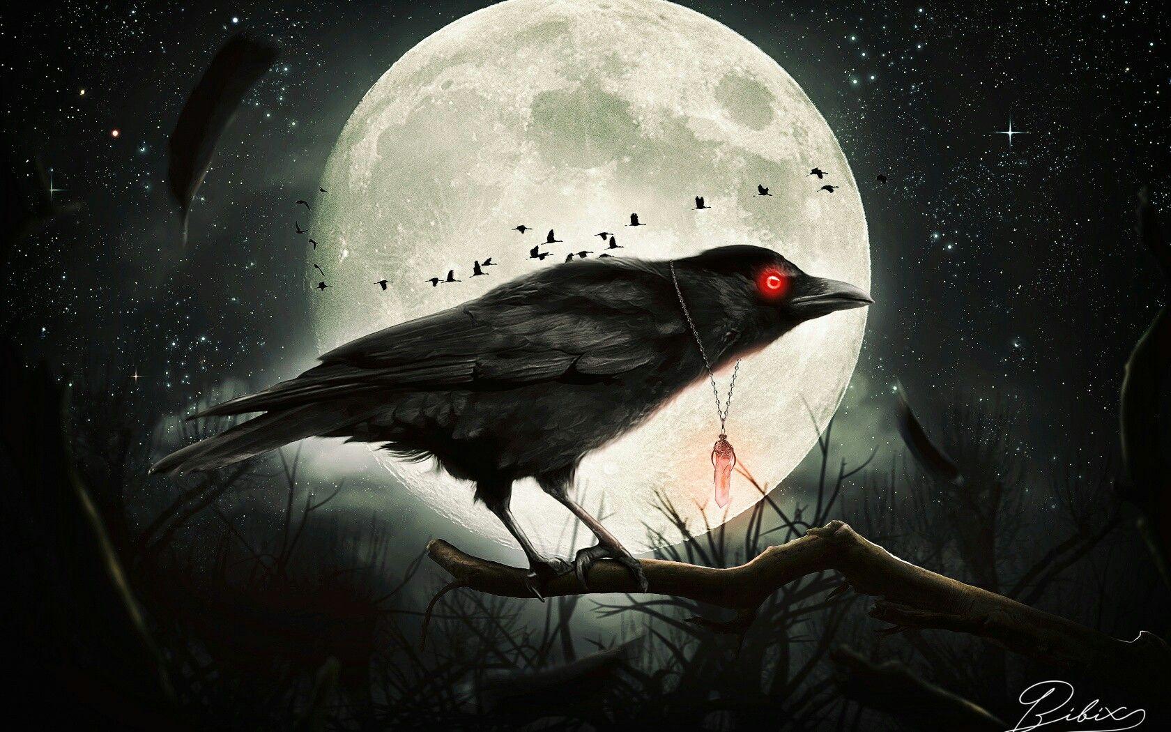 делают картинка ворон на фоне луны расположен восточном