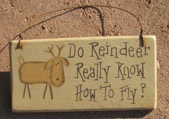 "Primitive+reindeer+signs | ... Christmas Decor :: 4"" Snowman & Santa Signs :: gr116r - Reindeer Sign"