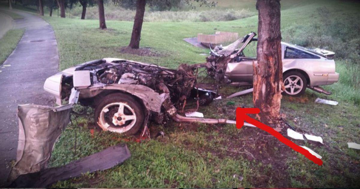 A horrific crash split his car in 2 but angels were