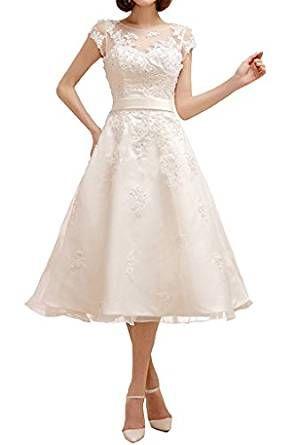 Knielanges Brautkleid mit Spitzen Applikation und Samtband ...