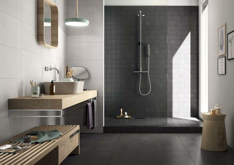 diseño de baños losa gris oscuro lavabo banco madera ideas ...